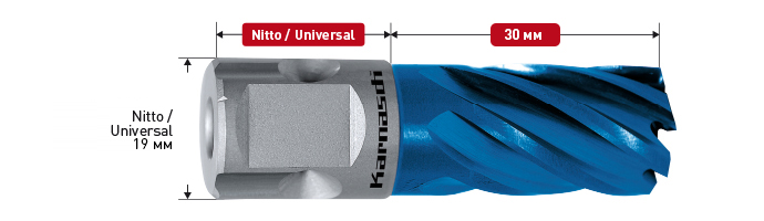 HSS-XE + DURABLUE coated annular cutter,Nitto/Uni- shank, drill depth 30 mm, Blue-Line30