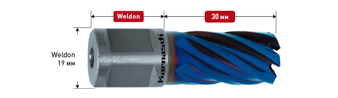 Powder steel + DURABLUE-coated annular cutter,Weldon shank, drill depth 30 mm,