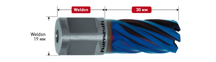 HSS-XE + DURABLUE coated annular cutter,Weldon shank, drill depth 30 mm, Blue-Line30
